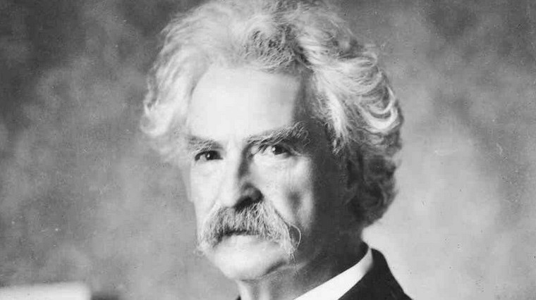 Who is he in this picture? For help here are some of his well-known works: The Adventures of Huckleberry Finn, The Adventures of Tom Sawyer.