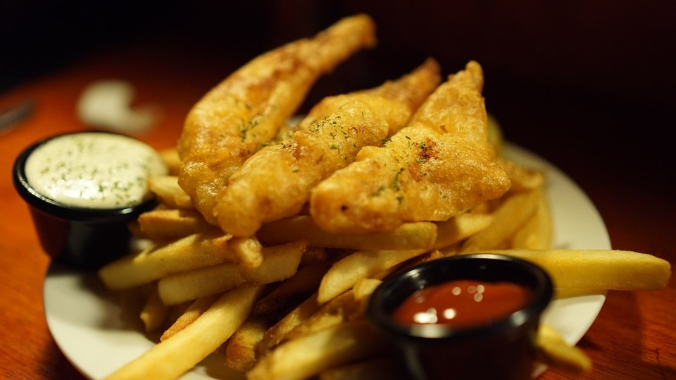 Which nation's typical food is fish and chips?
