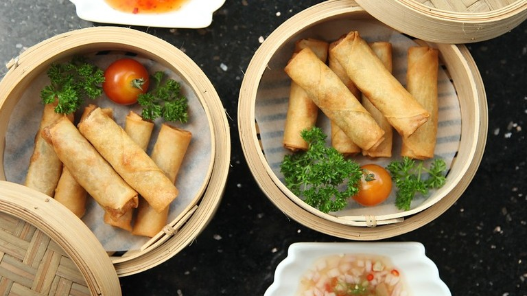 Which nation's typical food is the spring roll?